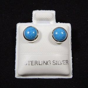Genuine Denim Lapis Sterling Silver 6mm Studs